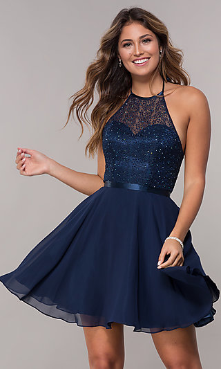 High-Neck Embroidered-Halter Short Homecoming Dress