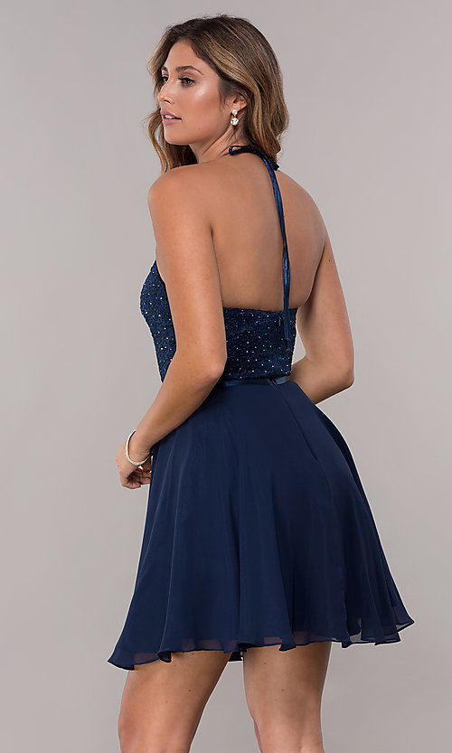 Image of high-neck embroidered-halter short homecoming dress. Style: FB-GS1621 Back Image