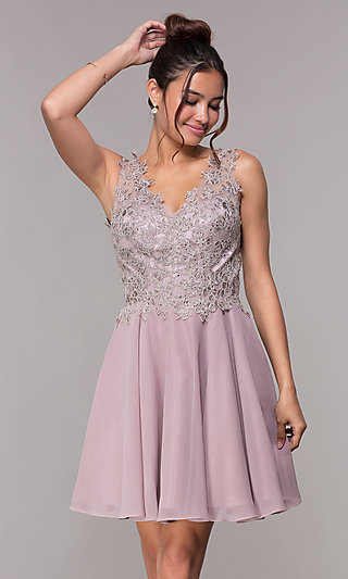 Short Embroidered Homecoming Dress by PromGirl
