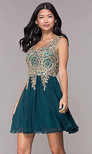 Image of lace-applique short v-neck chiffon homecoming dress. Style: FB-GS1625 Front Image