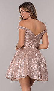 Image of off-the-shoulder glitter-mesh short homecoming dress. Style: FB-GS1626 Back Image