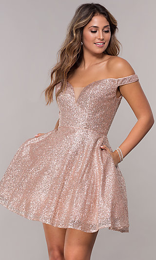 Off-the-Shoulder Glitter-Mesh Short Homecoming Dress