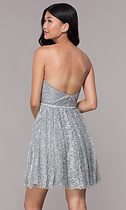 Image of strapless silver glitter-print homecoming dress. Style: FB-GS1627 Back Image