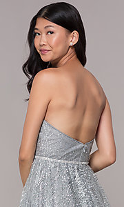 Image of strapless silver glitter-print homecoming dress. Style: FB-GS1627 Detail Image 2