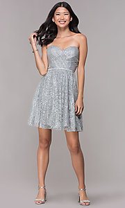 Image of strapless silver glitter-print homecoming dress. Style: FB-GS1627 Detail Image 3