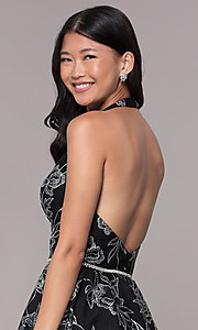 Image of silver glitter-print homecoming black halter dress. Style: FB-GS1629 Detail Image 2