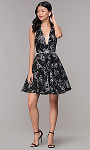 Image of silver glitter-print homecoming black halter dress. Style: FB-GS1629 Detail Image 3