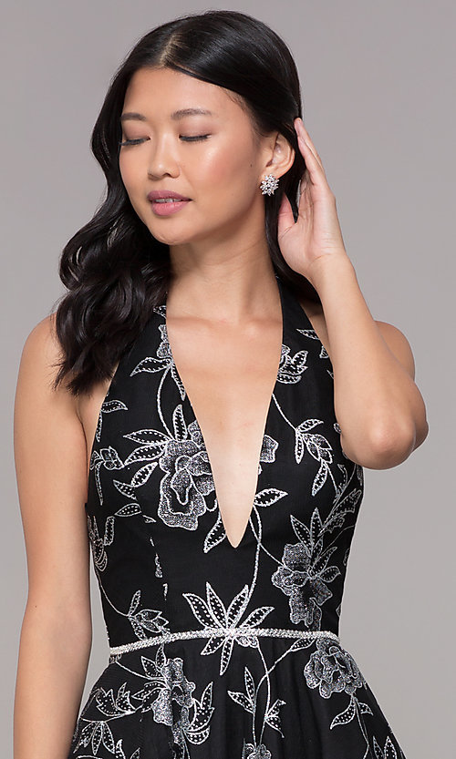 Image of silver glitter-print homecoming black halter dress. Style: FB-GS1629 Detail Image 1