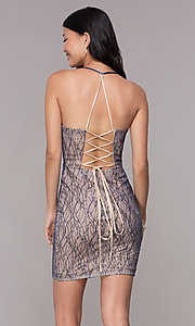 Image of short deep-v-neck homecoming corset-tie dress. Style: FB-GS1634 Back Image
