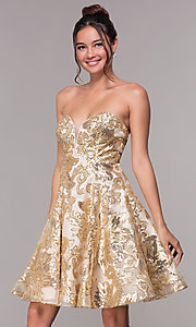 Image of strapless a-line sequin-embellished homecoming dress. Style: FB-GS1635 Front Image