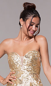 Image of strapless a-line sequin-embellished homecoming dress. Style: FB-GS1635 Detail Image 1