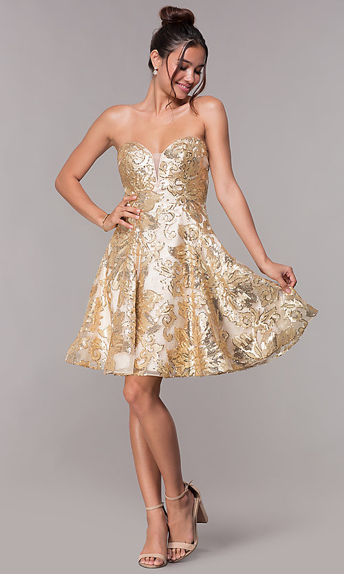Image of strapless a-line sequin-embellished homecoming dress. Style: FB-GS1635 Detail Image 3