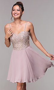 Image of short homecoming sweetheart party dress by PromGirl. Style: FB-PL-GS1636 Front Image
