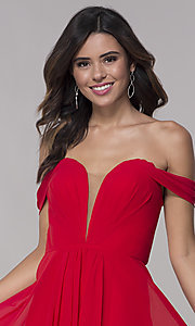 Image of Faviana short off-the-shoulder homecoming dress. Style: FA-10163 Detail Image 1