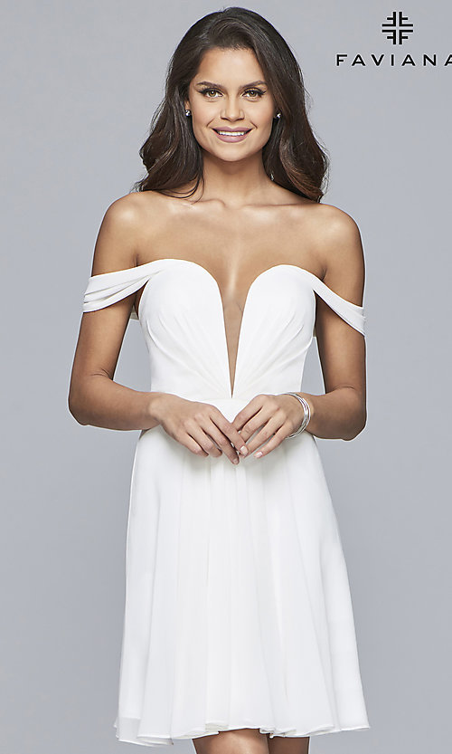 Image of Faviana short off-the-shoulder homecoming dress. Style: FA-10163 Detail Image 3