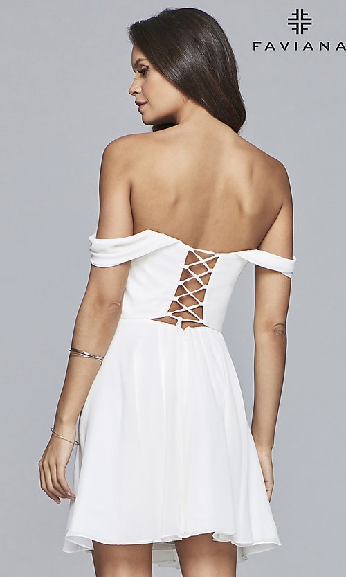Image of Faviana short off-the-shoulder homecoming dress. Style: FA-10163 Detail Image 8
