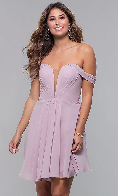 Image of Faviana short off-the-shoulder homecoming dress. Style: FA-10163 Detail Image 4