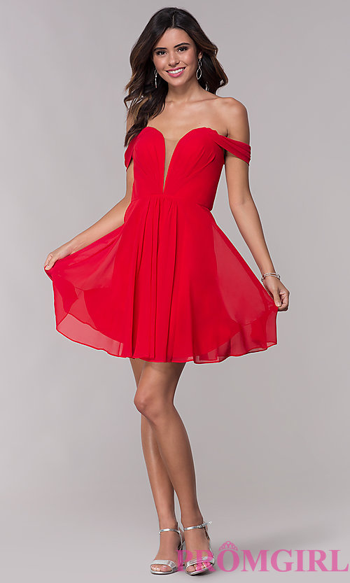 Image of Faviana short off-the-shoulder homecoming dress. Style: FA-10163 Detail Image 2