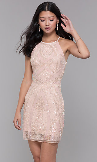 Sequin-Print Metallic Homecoming Party Dress