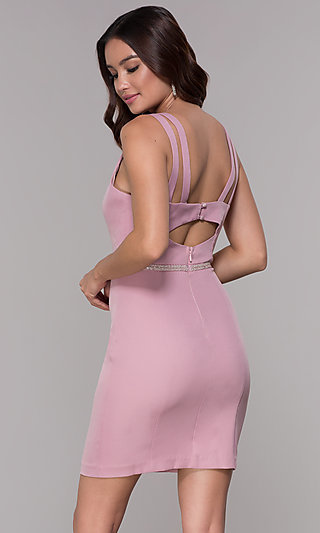 Mauve Pink Jersey Homecoming Dress with V-Neckline