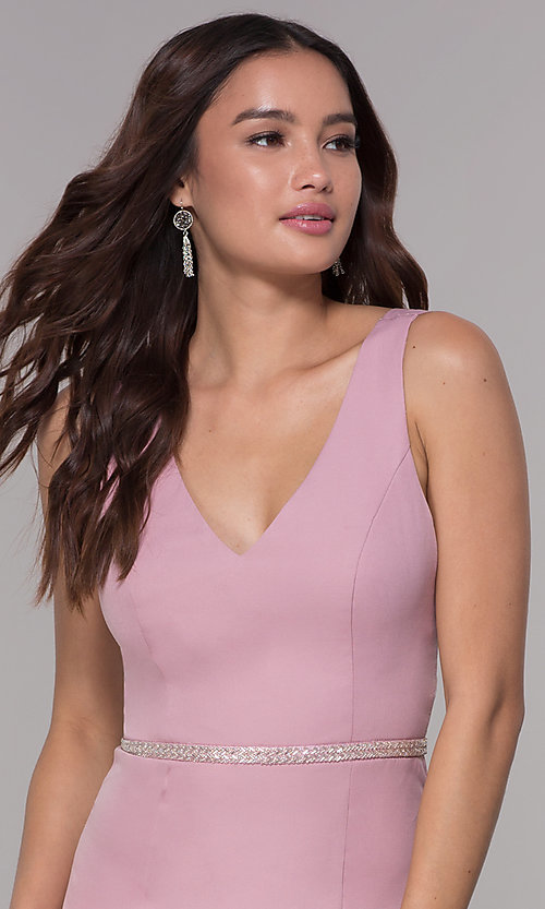 Image of mauve pink jersey homecoming dress with v-neckline. Style: MT-9375 Detail Image 1