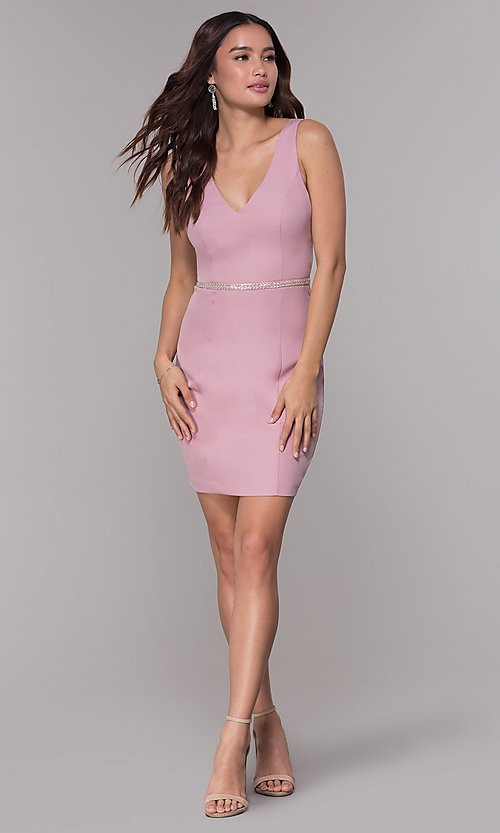 Image of mauve pink jersey homecoming dress with v-neckline. Style: MT-9375 Detail Image 3