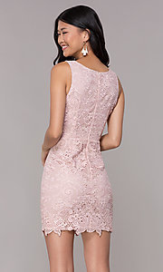 Image of v-neck embroidered-lace short homecoming dress. Style: MT-9191 Back Image