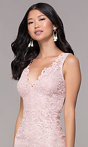 Image of v-neck embroidered-lace short homecoming dress. Style: MT-9191 Detail Image 1