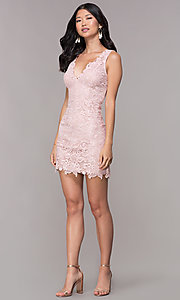 Image of v-neck embroidered-lace short homecoming dress. Style: MT-9191 Detail Image 2
