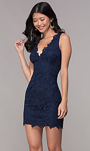 Image of v-neck embroidered-lace short homecoming dress. Style: MT-9191 Detail Image 3