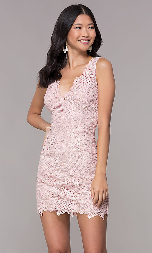 Image of v-neck embroidered-lace short homecoming dress. Style: MT-9191 Front Image