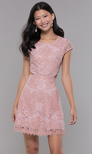 Mauve Short-Sleeve Embroidered Homecoming Dress