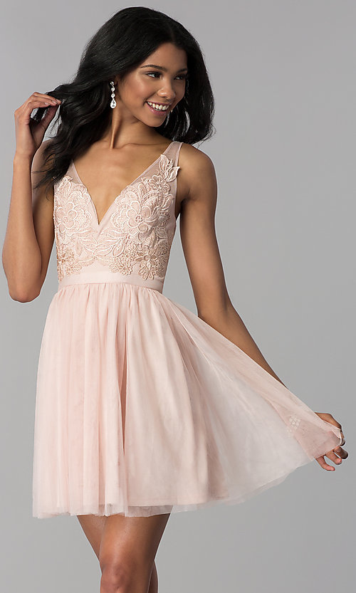 Image of lace-applique v-neck short homecoming dress. Style: LP-27403 Front Image