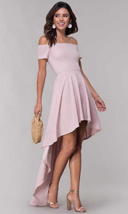3e818862c5c Image of off-the-shoulder high-low mauve homecoming dress. Style