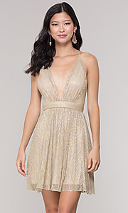 Image of v-neck metallic homecoming short party dress. Style: LP-27728 Front Image