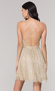 Image of v-neck metallic homecoming short party dress. Style: LP-27728 Back Image