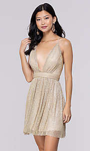 Image of v-neck metallic homecoming short party dress. Style: LP-27728 Detail Image 4