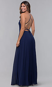 Image of square-neck long chiffon open-back formal dress. Style: LP-27747 Back Image