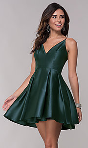 Image of fit-and-flare short v-neck homecoming party dress. Style: LP-27732 Detail Image 2