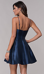 Image of fit-and-flare short v-neck homecoming party dress. Style: LP-27732 Back Image