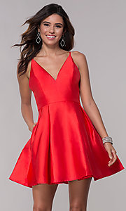 Image of fit-and-flare short v-neck homecoming party dress. Style: LP-27732 Detail Image 1
