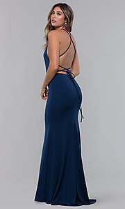 Image of jersey long open-back formal dress. Style: LP-27726 Detail Image 5