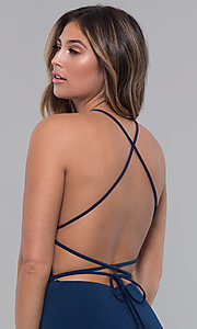 Image of jersey long open-back formal dress. Style: LP-27726 Detail Image 7