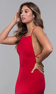 Image of jersey long open-back formal dress. Style: LP-27726 Detail Image 2
