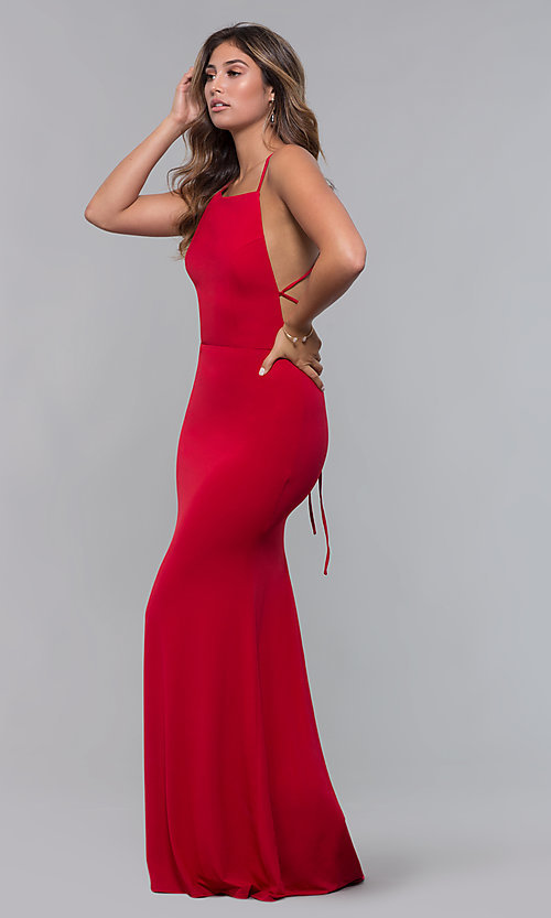 Image of jersey long open-back formal dress. Style: LP-27726 Detail Image 1