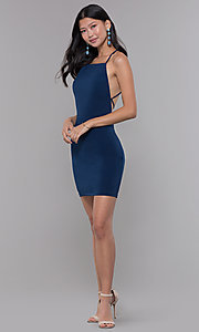 Image of short square-neck open-back homecoming party dress. Style: LP-27693 Detail Image 2