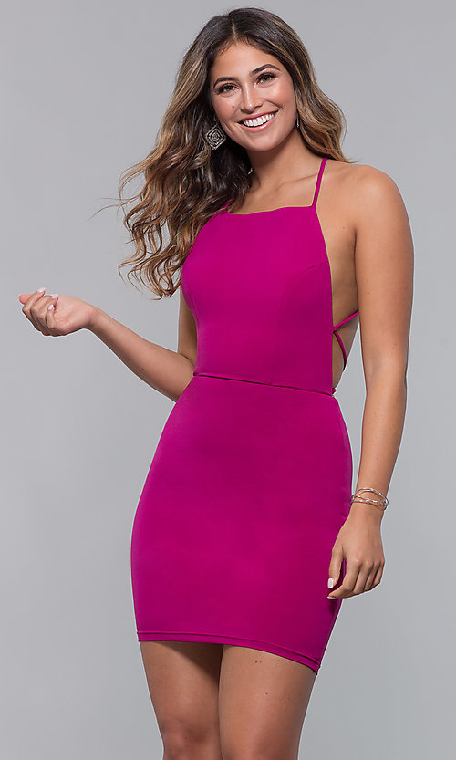 Image of short square-neck open-back homecoming party dress. Style: LP-27693 Detail Image 3