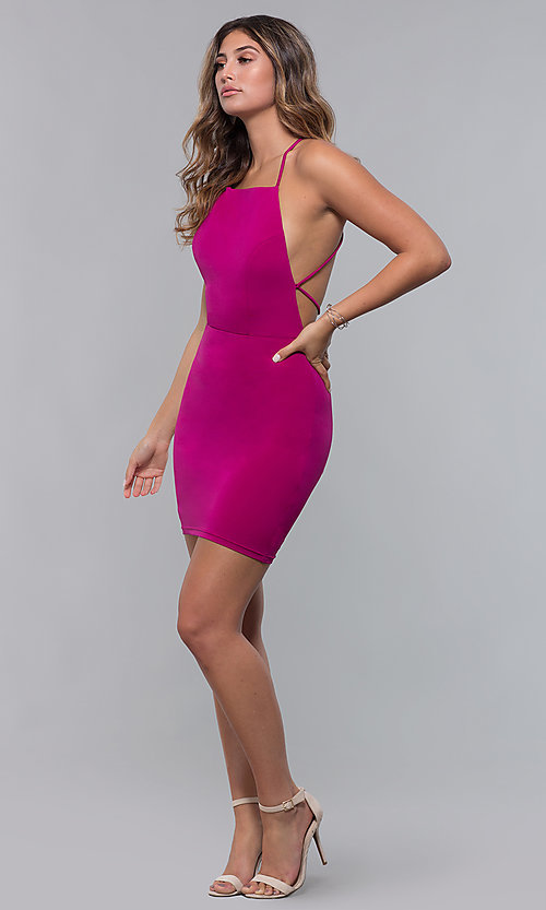 Image of short square-neck open-back homecoming party dress. Style: LP-27693 Detail Image 7