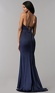 Image of surplice-v-neck long prom dress with side slit. Style: LP-25566 Back Image