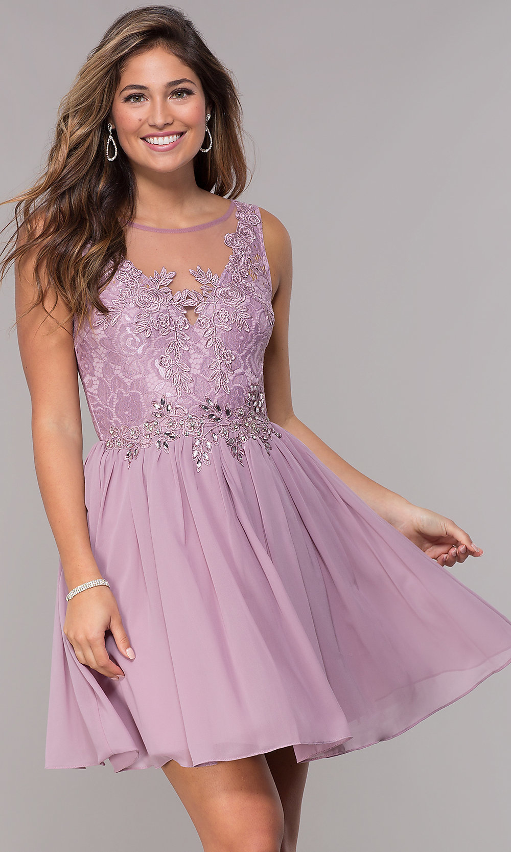 2873d3ae1c7 Short Chiffon Homecoming Dress With Lace Bodice - Data Dynamic AG